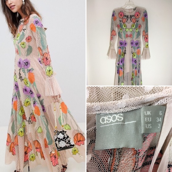 9fd15de9b39af ASOS Dresses   Skirts - ASOS Edition embroidered floral maxi dress.